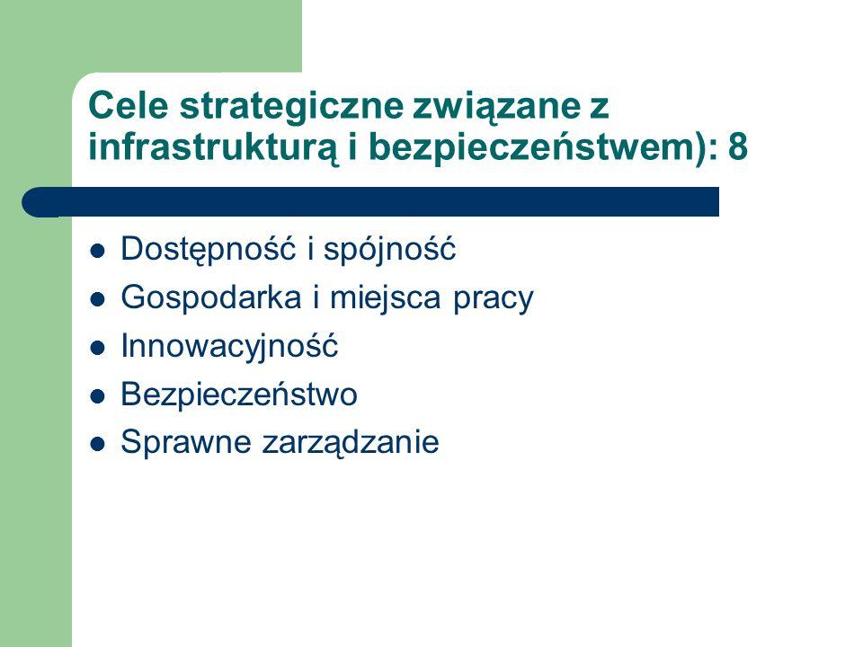 Cele strategiczne związane z infrastrukturą i bezpieczeństwem): 8 Dostępność i spójność Gospodarka i miejsca pracy Innowacyjność Bezpieczeństwo Sprawne zarządzanie