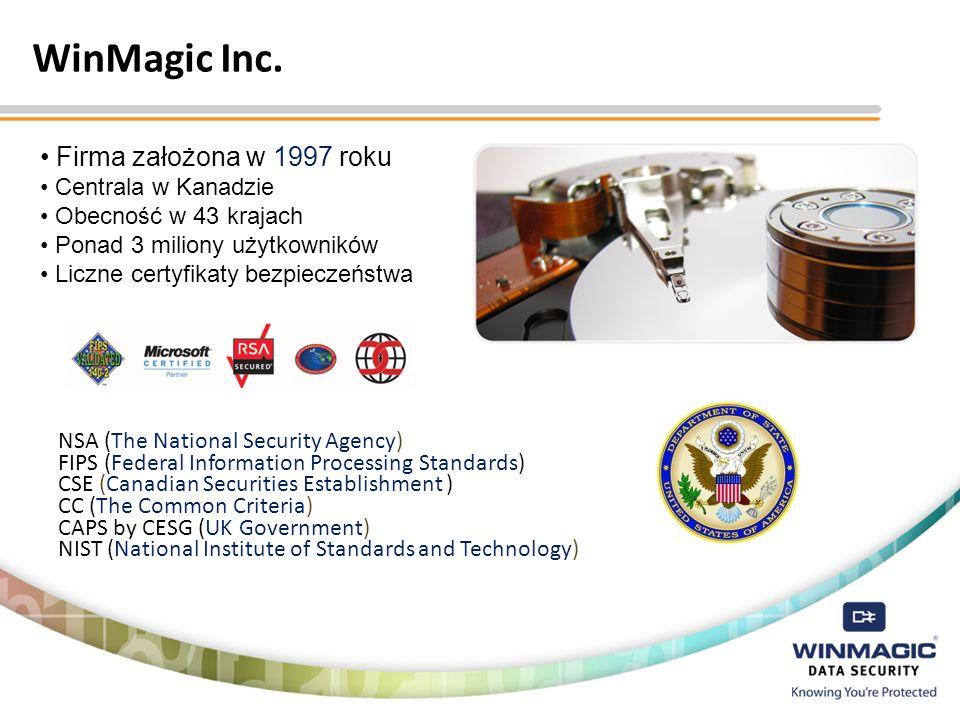 WinMagic Inc. Firma założona w 1997 roku Centrala w Kanadzie Obecność w 43 krajach Ponad 3 miliony użytkowników Liczne certyfikaty bezpieczeństwa NSA