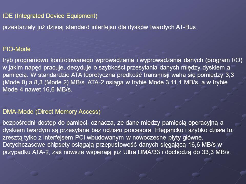 IDE (Integrated Device Equipment) przestarzały już dzisiaj standard interfejsu dla dysków twardych AT-Bus. PIO-Mode tryb programowo kontrolowanego wpr