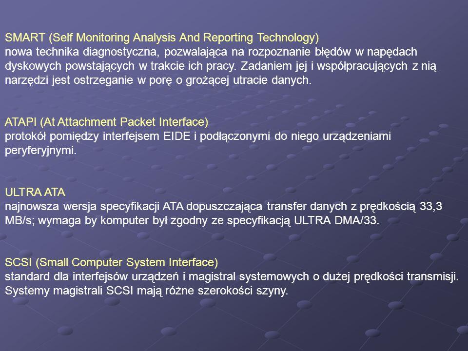 SMART (Self Monitoring Analysis And Reporting Technology) nowa technika diagnostyczna, pozwalająca na rozpoznanie błędów w napędach dyskowych powstają