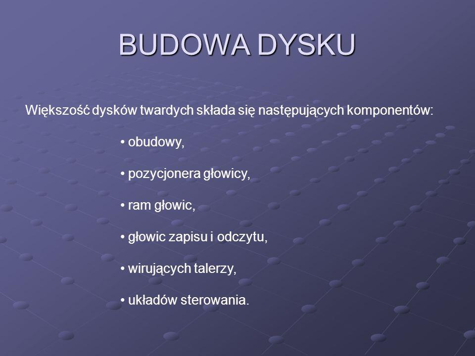 BUDOWA DYSKU Większość dysków twardych składa się następujących komponentów: obudowy, pozycjonera głowicy, ram głowic, głowic zapisu i odczytu, wirują