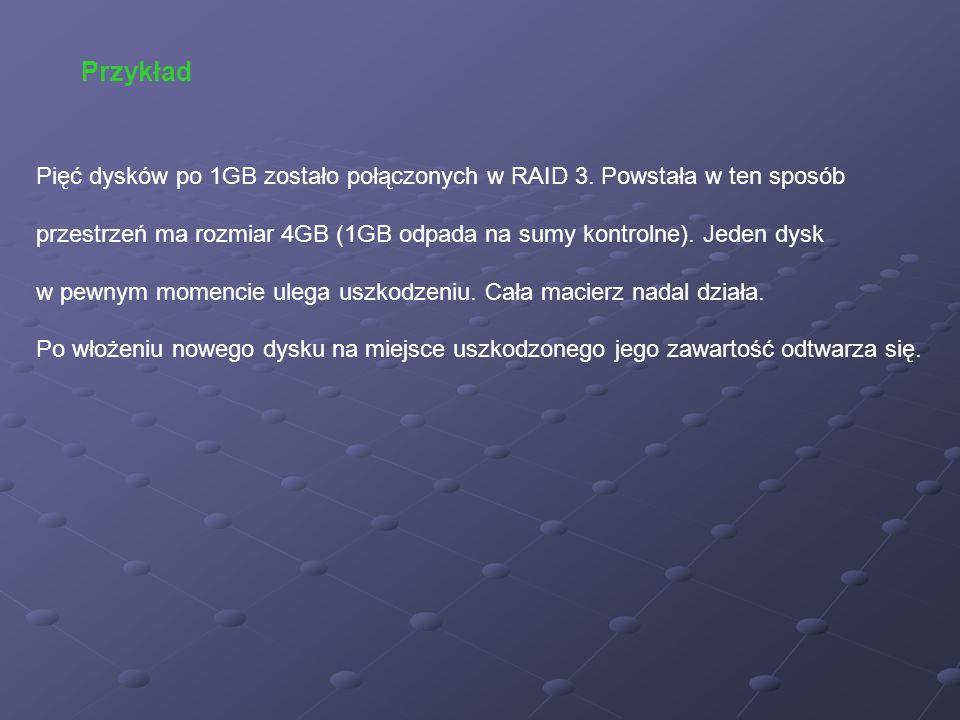 Pięć dysków po 1GB zostało połączonych w RAID 3. Powstała w ten sposób przestrzeń ma rozmiar 4GB (1GB odpada na sumy kontrolne). Jeden dysk w pewnym m