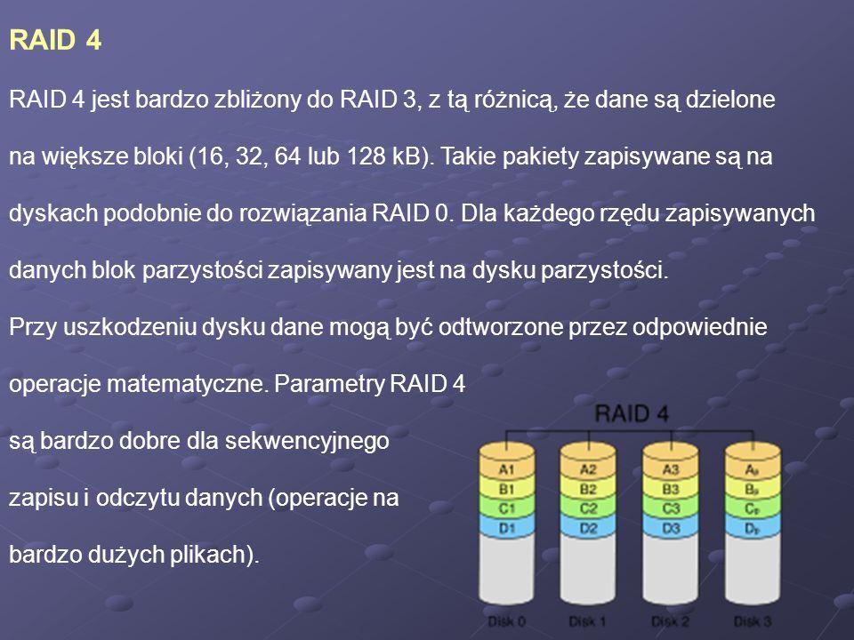 RAID 4 RAID 4 jest bardzo zbliżony do RAID 3, z tą różnicą, że dane są dzielone na większe bloki (16, 32, 64 lub 128 kB). Takie pakiety zapisywane są