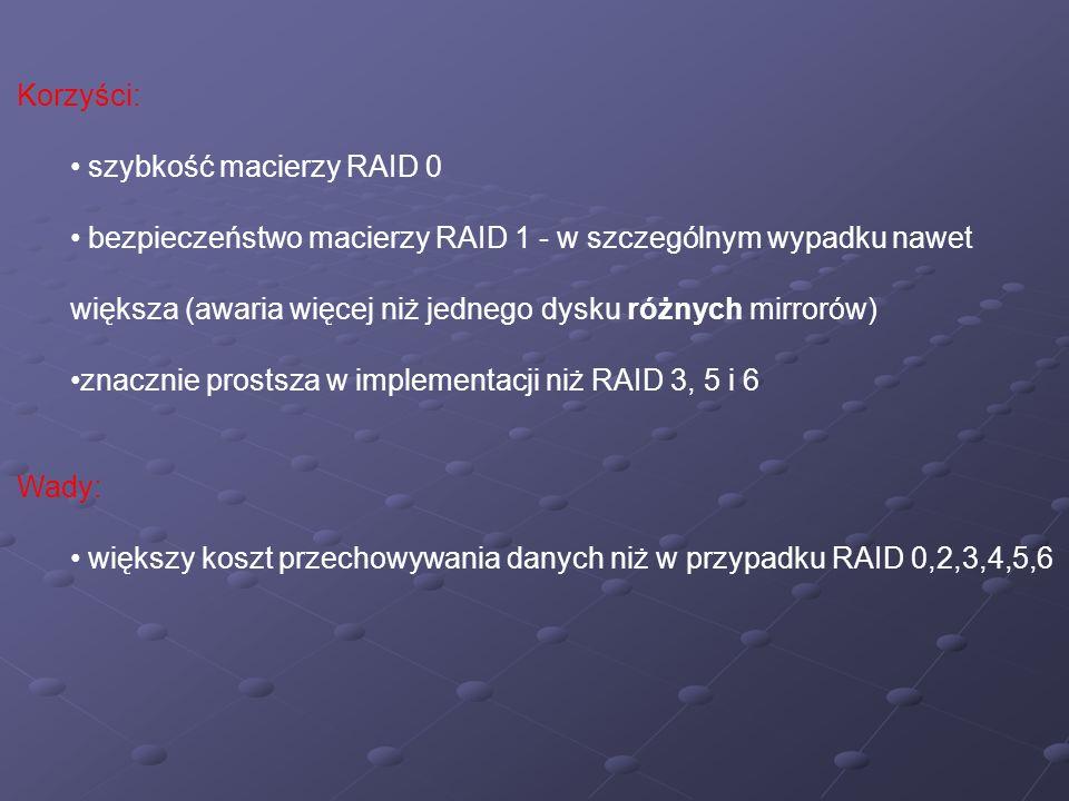 Korzyści: szybkość macierzy RAID 0 bezpieczeństwo macierzy RAID 1 - w szczególnym wypadku nawet większa (awaria więcej niż jednego dysku różnych mirro