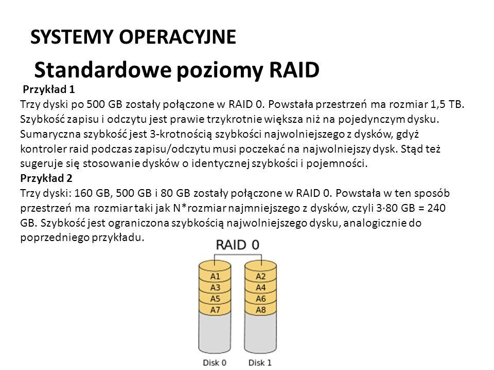 SYSTEMY OPERACYJNE Standardowe poziomy RAID Przykład 1 Trzy dyski po 500 GB zostały połączone w RAID 0. Powstała przestrzeń ma rozmiar 1,5 TB. Szybkoś
