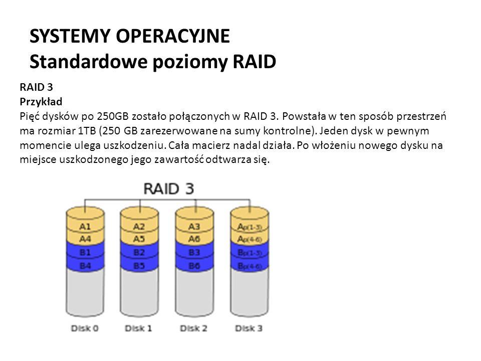 SYSTEMY OPERACYJNE Standardowe poziomy RAID RAID 3 Przykład Pięć dysków po 250GB zostało połączonych w RAID 3. Powstała w ten sposób przestrzeń ma roz