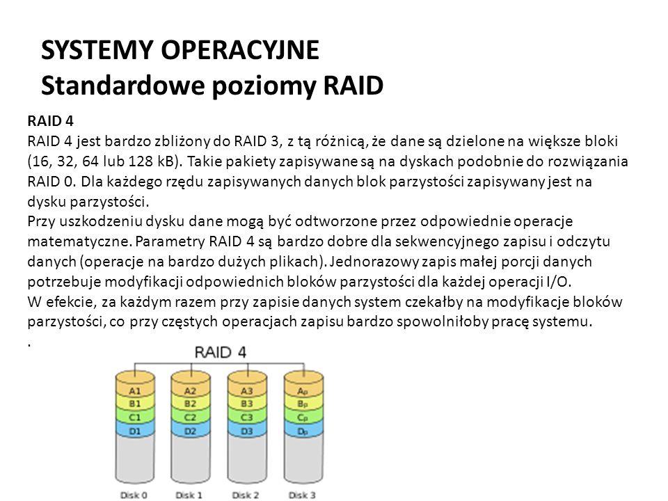 SYSTEMY OPERACYJNE Standardowe poziomy RAID RAID 4 RAID 4 jest bardzo zbliżony do RAID 3, z tą różnicą, że dane są dzielone na większe bloki (16, 32,