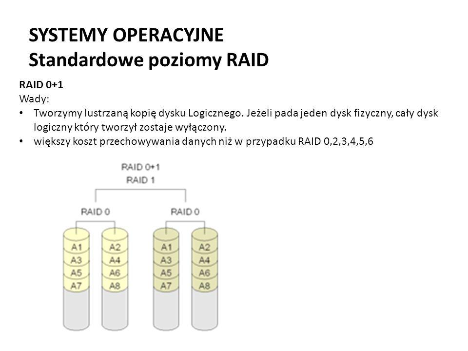 SYSTEMY OPERACYJNE Standardowe poziomy RAID RAID 0+1 Wady: Tworzymy lustrzaną kopię dysku Logicznego. Jeżeli pada jeden dysk fizyczny, cały dysk logic