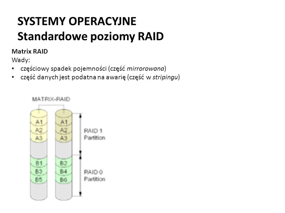 SYSTEMY OPERACYJNE Standardowe poziomy RAID Matrix RAID Wady: częściowy spadek pojemności (część mirrorowana) część danych jest podatna na awarię (czę