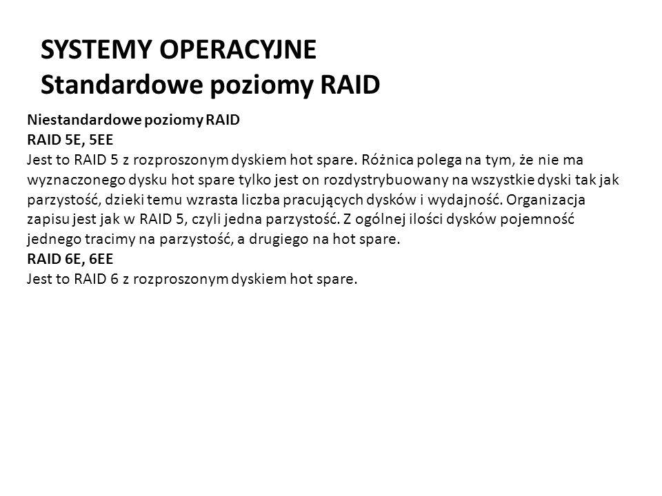 SYSTEMY OPERACYJNE Standardowe poziomy RAID Niestandardowe poziomy RAID RAID 5E, 5EE Jest to RAID 5 z rozproszonym dyskiem hot spare. Różnica polega n