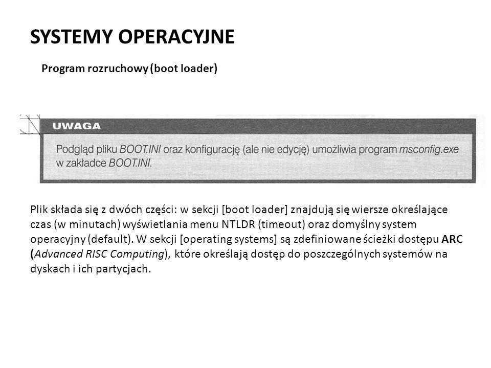 SYSTEMY OPERACYJNE Program rozruchowy (boot loader) Plik składa się z dwóch części: w sekcji [boot loader] znajdują się wiersze określające czas (w m