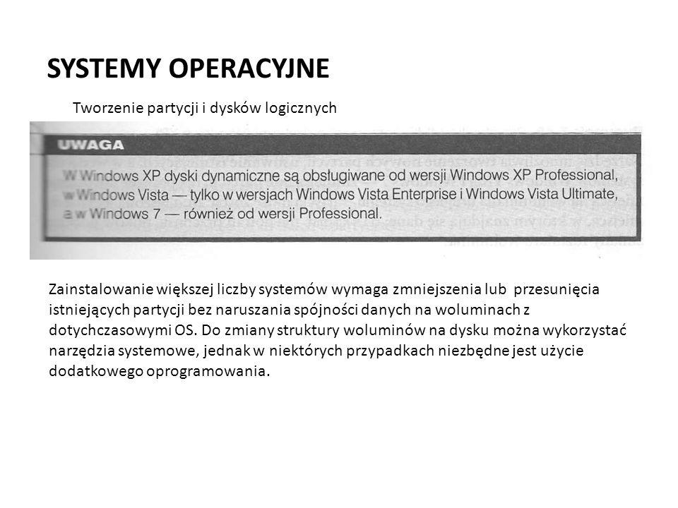 SYSTEMY OPERACYJNE Przystawka MMC Zarządzanie dyskami (Windows XP)