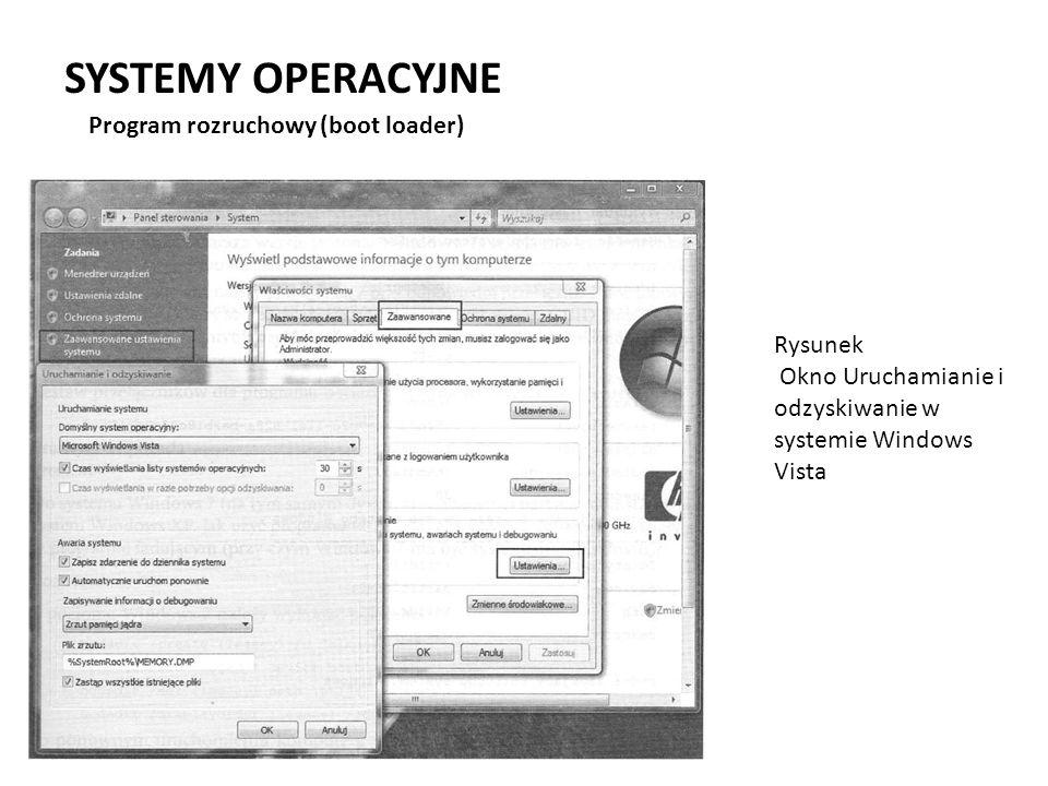 SYSTEMY OPERACYJNE Program rozruchowy (boot loader) Rysunek Okno Uruchamianie i odzyskiwanie w systemie Windows Vista
