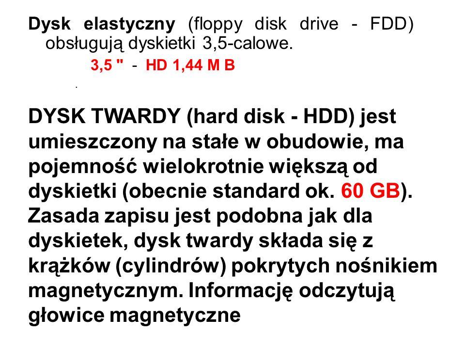 Dysk elastyczny (floppy disk drive - FDD) obsługują dyskietki 3,5-calowe. 3,5