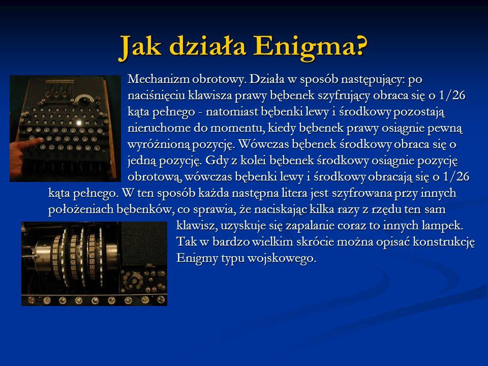 Jak działa Enigma? Mechanizm obrotowy. Działa w sposób następujący: po naciśnięciu klawisza prawy bębenek szyfrujący obraca się o 1/26 kąta pełnego -