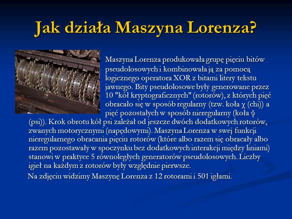 Jak działa Maszyna Lorenza? Maszyna Lorenza produkowała grupę pięciu bitów pseudolosowych i kombinowała ją za pomocą logicznego operatora XOR z bitami