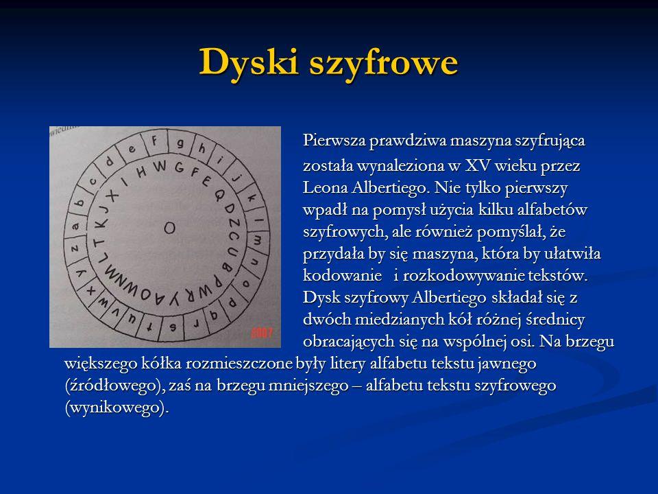 Dyski szyfrowe Pierwsza prawdziwa maszyna szyfrująca została wynaleziona w XV wieku przez Leona Albertiego. Nie tylko pierwszy wpadł na pomysł użycia