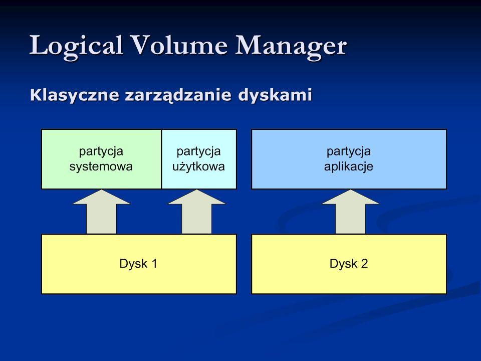 Logical Volume Manager Klasyczne zarządzanie dyskami