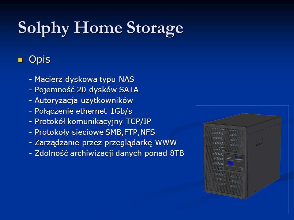 Opis Opis - Macierz dyskowa typu NAS - Pojemność 20 dysków SATA - Autoryzacja użytkowników - Połączenie ethernet 1Gb/s - Protokół komunikacyjny TCP/IP - Protokoły sieciowe SMB,FTP,NFS - Zarządzanie przez przeglądarkę WWW - Zarządzanie przez przeglądarkę WWW - Zdolność archiwizacji danych ponad 8TB