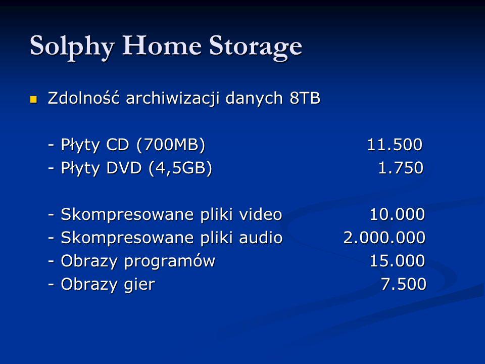 Solphy Home Storage Zdolność archiwizacji danych 8TB Zdolność archiwizacji danych 8TB - Płyty CD (700MB) 11.500 - Płyty DVD (4,5GB) 1.750 - Skompresowane pliki video10.000 - Skompresowane pliki audio 2.000.000 - Obrazy programów15.000 - Obrazy gier 7.500