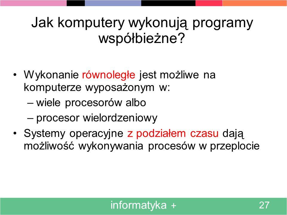 informatyka + 27 Jak komputery wykonują programy współbieżne.