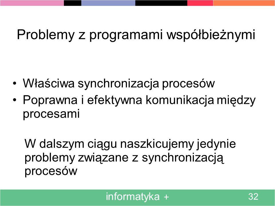 informatyka + 32 Problemy z programami współbieżnymi Właściwa synchronizacja procesów Poprawna i efektywna komunikacja między procesami W dalszym ciągu naszkicujemy jedynie problemy związane z synchronizacją procesów