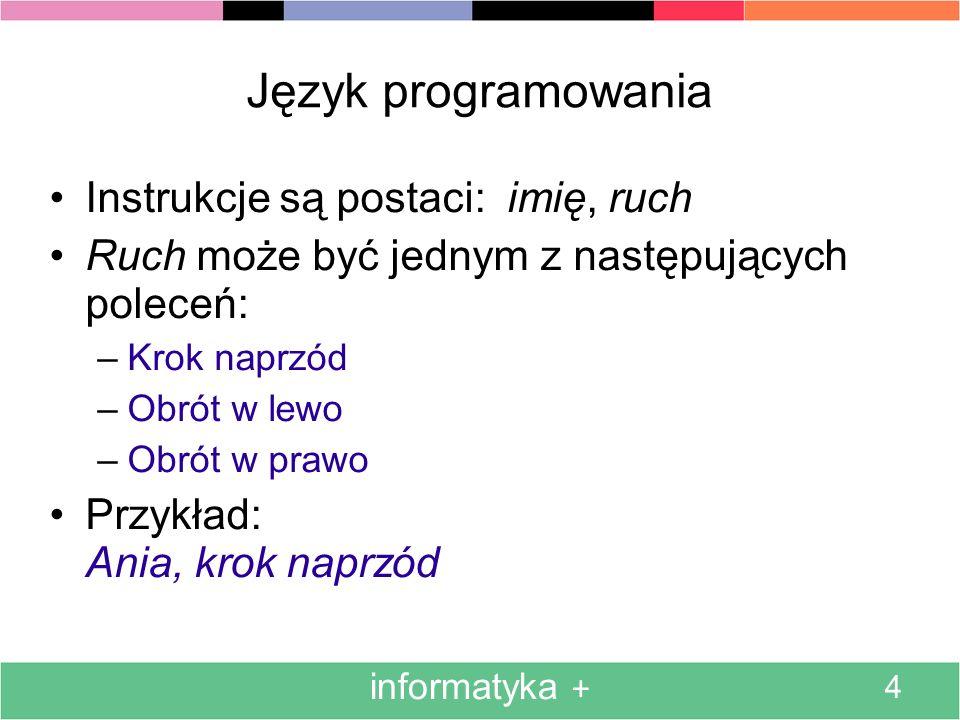 informatyka + 4 Język programowania Instrukcje są postaci: imię, ruch Ruch może być jednym z następujących poleceń: –Krok naprzód –Obrót w lewo –Obrót w prawo Przykład: Ania, krok naprzód