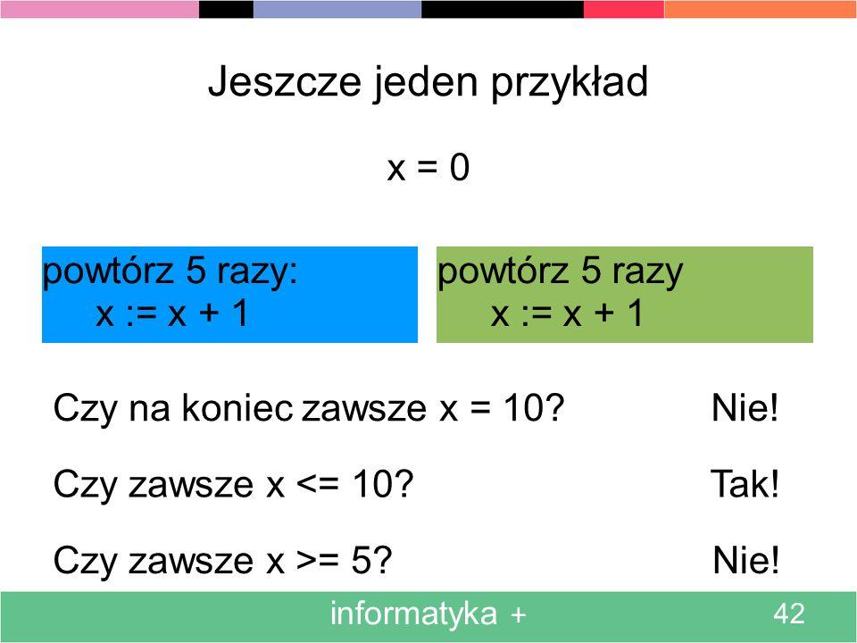 informatyka + 42 Jeszcze jeden przykład powtórz 5 razy: x := x + 1 powtórz 5 razy x := x + 1 x = 0 Czy na koniec zawsze x = 10.