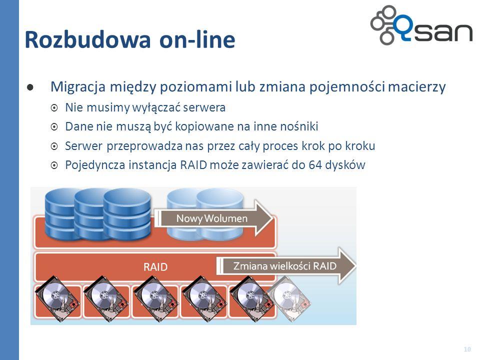 Rozbudowa on-line Migracja między poziomami lub zmiana pojemności macierzy Nie musimy wyłączać serwera Dane nie muszą być kopiowane na inne nośniki Serwer przeprowadza nas przez cały proces krok po kroku Pojedyncza instancja RAID może zawierać do 64 dysków 10