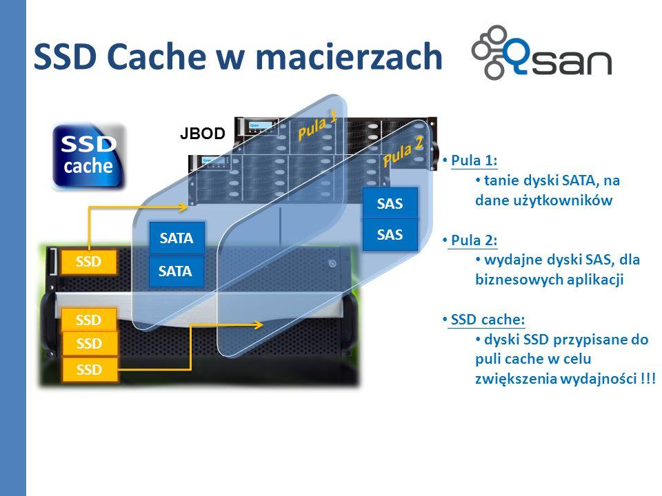 SSD Cache w macierzach SSD SATA JBOD Pula 1: tanie dyski SATA, na dane użytkowników Pula 2: wydajne dyski SAS, dla biznesowych aplikacji SSD cache: dy