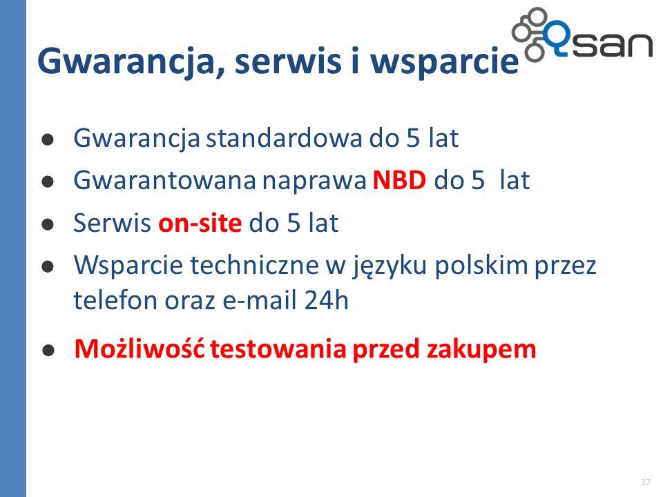 37 Gwarancja, serwis i wsparcie Gwarancja standardowa do 5 lat Gwarantowana naprawa NBD do 5 lat Serwis on-site do 5 lat Wsparcie techniczne w języku