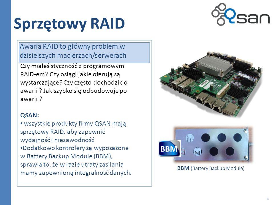 4 Sprzętowy RAID Awaria RAID to główny problem w dzisiejszych macierzach/serwerach Czy miałeś styczność z programowym RAID-em.