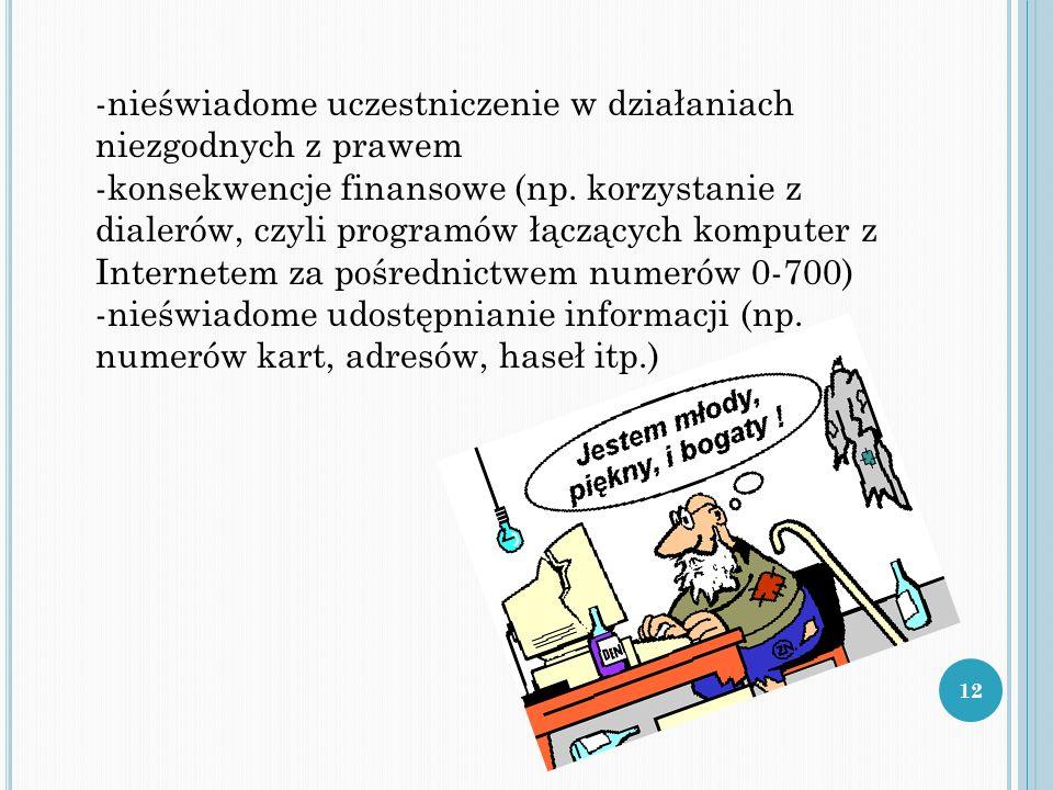 -nieświadome uczestniczenie w działaniach niezgodnych z prawem -konsekwencje finansowe (np. korzystanie z dialerów, czyli programów łączących komputer