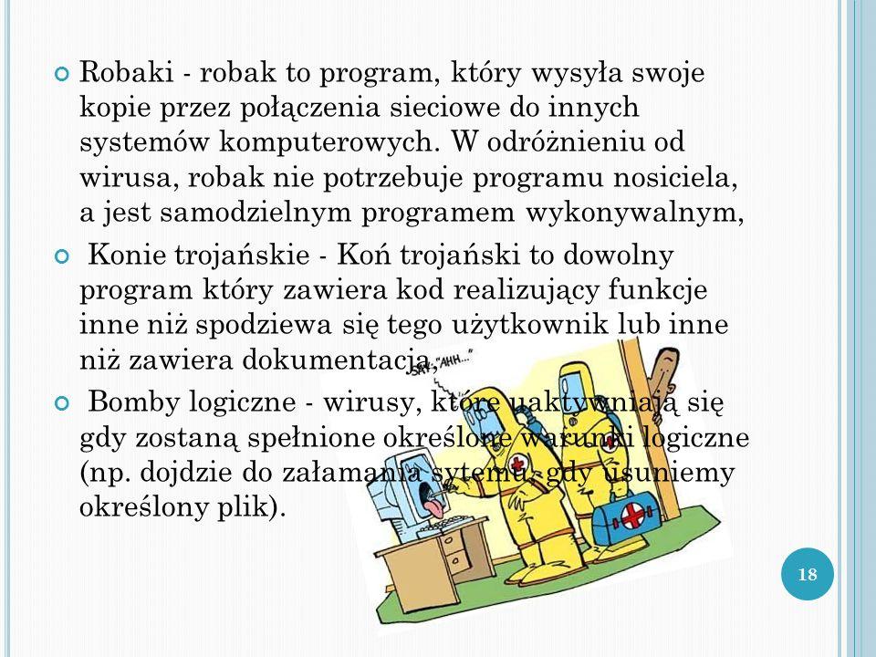 Robaki - robak to program, który wysyła swoje kopie przez połączenia sieciowe do innych systemów komputerowych. W odróżnieniu od wirusa, robak nie pot