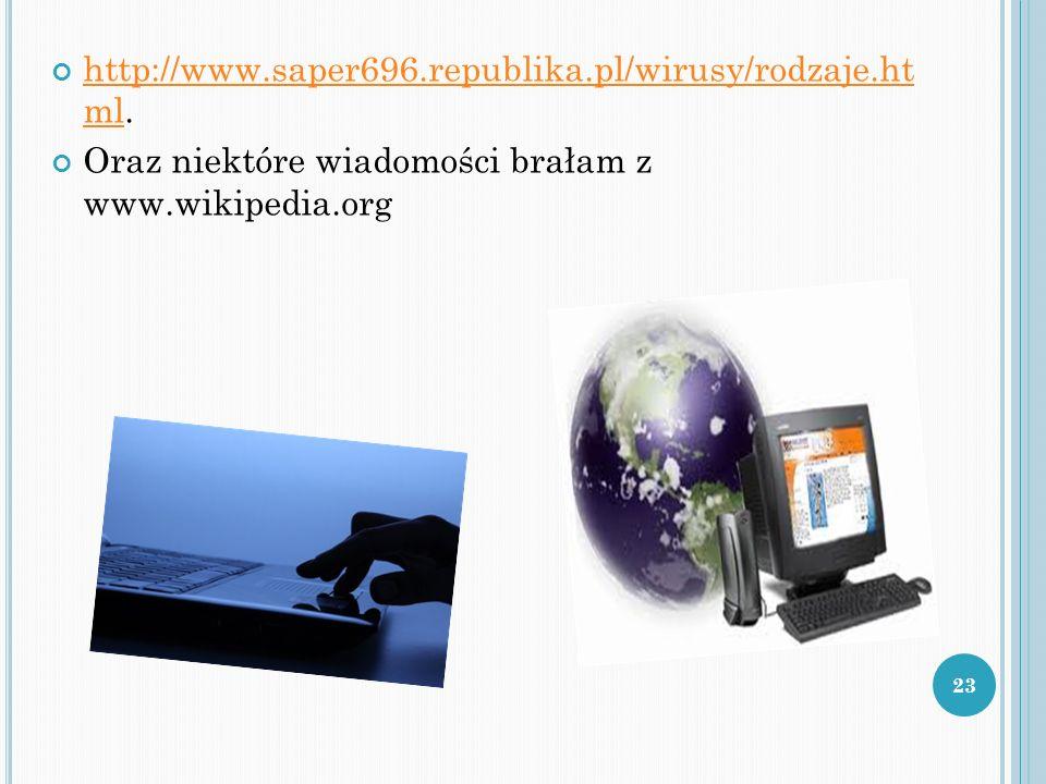 http://www.saper696.republika.pl/wirusy/rodzaje.ht ml. http://www.saper696.republika.pl/wirusy/rodzaje.ht ml Oraz niektóre wiadomości brałam z www.wik