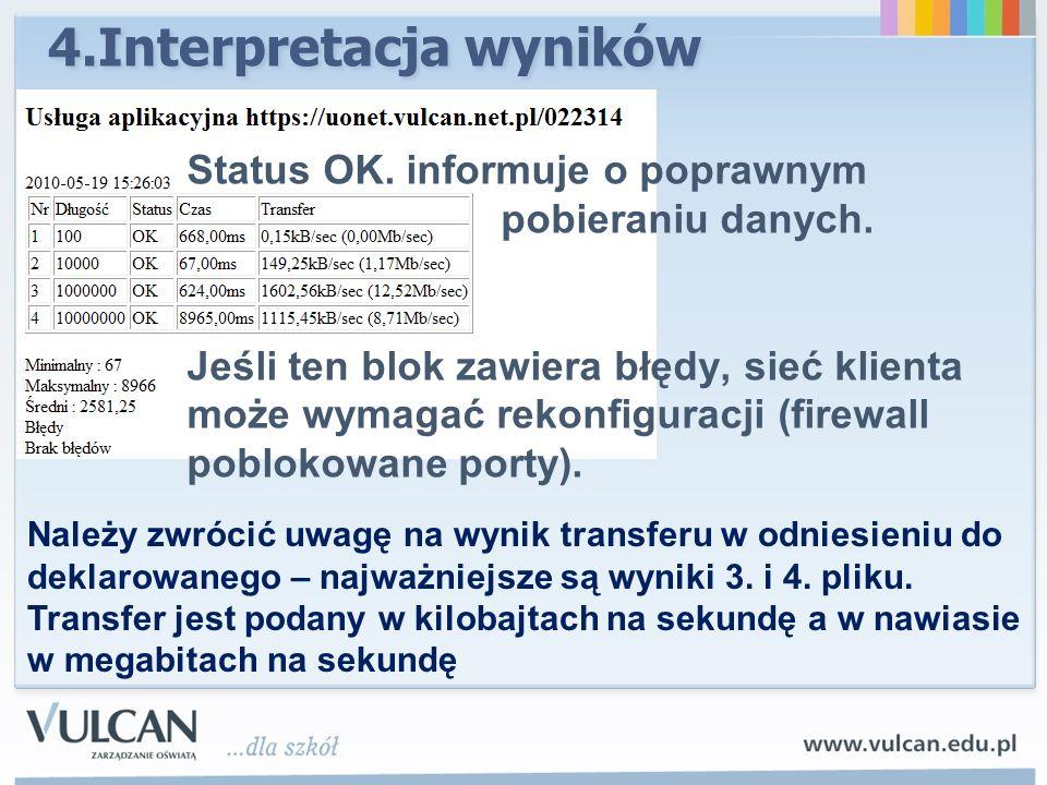 4.Interpretacja wyników Status OK. informuje o poprawnym pobieraniu danych. Jeśli ten blok zawiera błędy, sieć klienta może wymagać rekonfiguracji (fi