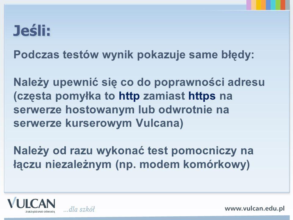 Jeśli: Podczas testów wynik pokazuje same błędy: Należy upewnić się co do poprawności adresu (częsta pomyłka to http zamiast https na serwerze hostowa