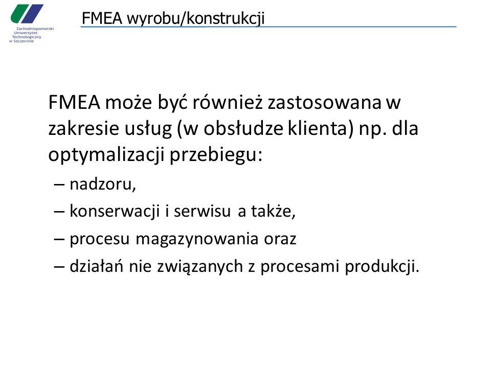 FMEA wyrobu/konstrukcji FMEA może być również zastosowana w zakresie usług (w obsłudze klienta) np.