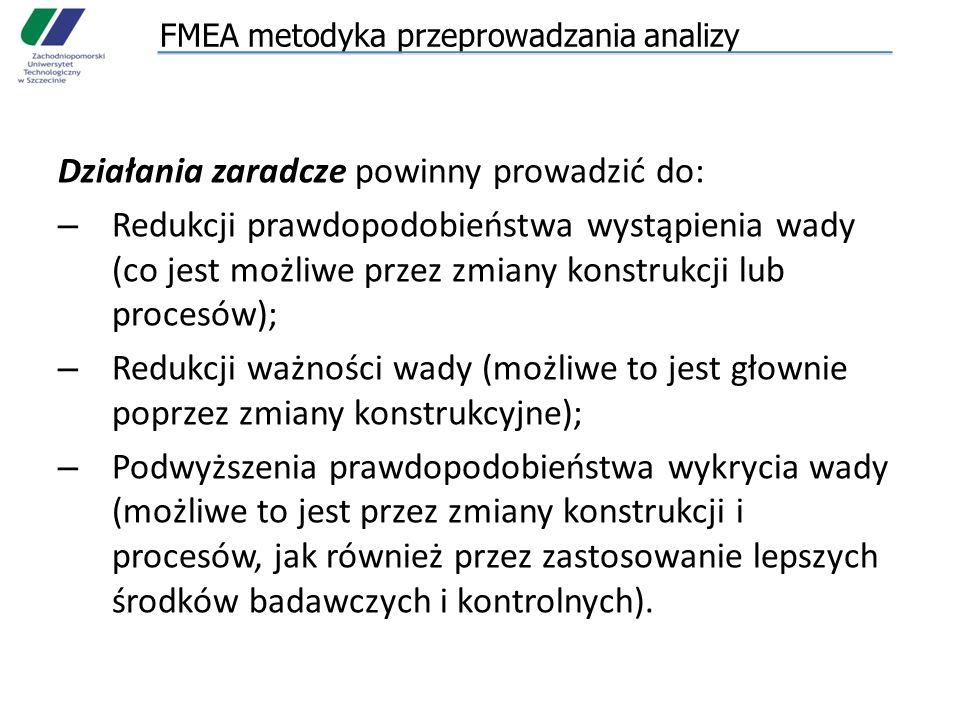 FMEA metodyka przeprowadzania analizy Działania zaradcze powinny prowadzić do: – Redukcji prawdopodobieństwa wystąpienia wady (co jest możliwe przez zmiany konstrukcji lub procesów); – Redukcji ważności wady (możliwe to jest głownie poprzez zmiany konstrukcyjne); – Podwyższenia prawdopodobieństwa wykrycia wady (możliwe to jest przez zmiany konstrukcji i procesów, jak również przez zastosowanie lepszych środków badawczych i kontrolnych).