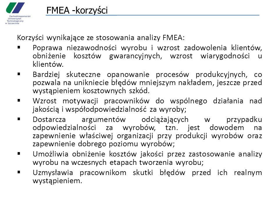 FMEA -korzyści Korzyści wynikające ze stosowania analizy FMEA: Poprawa niezawodności wyrobu i wzrost zadowolenia klientów, obniżenie kosztów gwarancyjnych, wzrost wiarygodności u klientów.