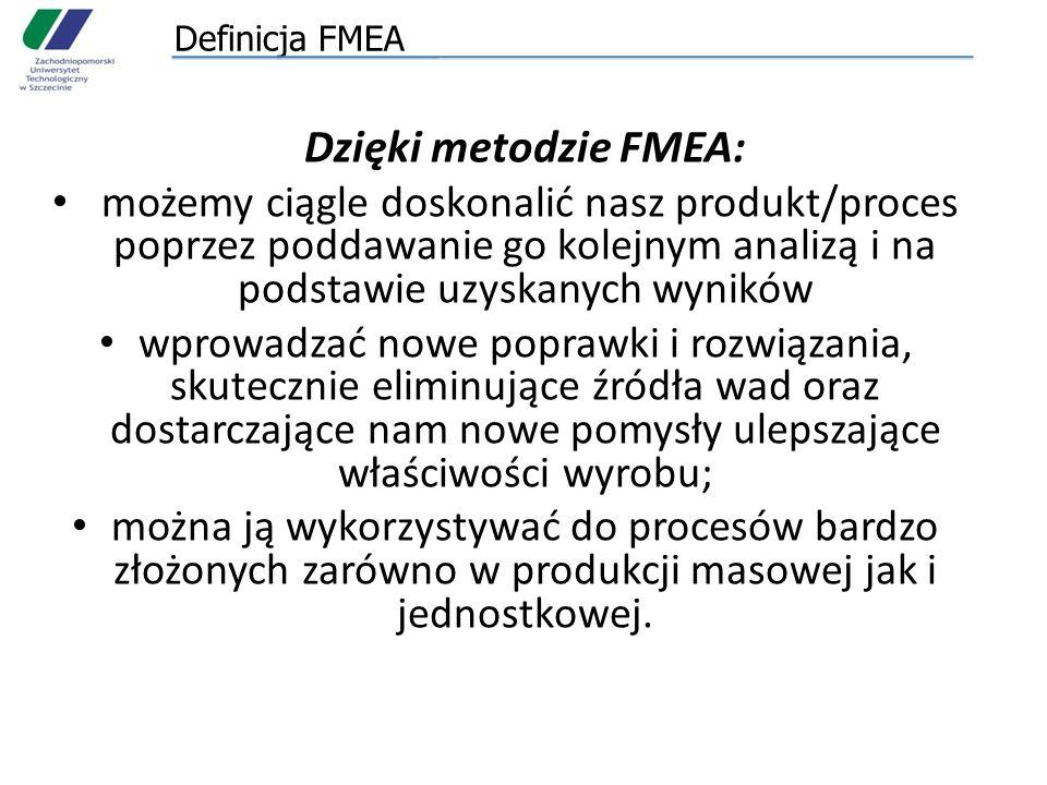 FMEA wyrobu/konstrukcji FMEA procesu stosowana jest w następujących fazach: – w początkowej fazie planowania, aby zdecydować o przydatności procesów i rozważyć dobór środków produkcji (zakup maszyn i urządzeń); – w fazie planowania produkcji, aby określić słabe miejsca i zastosować środki zapobiegawcze; – przed uruchomieniem produkcji seryjnej; – w produkcji seryjnej dla usprawnienia procesów, które okazały się niestabilne lub o niskiej wydajności.