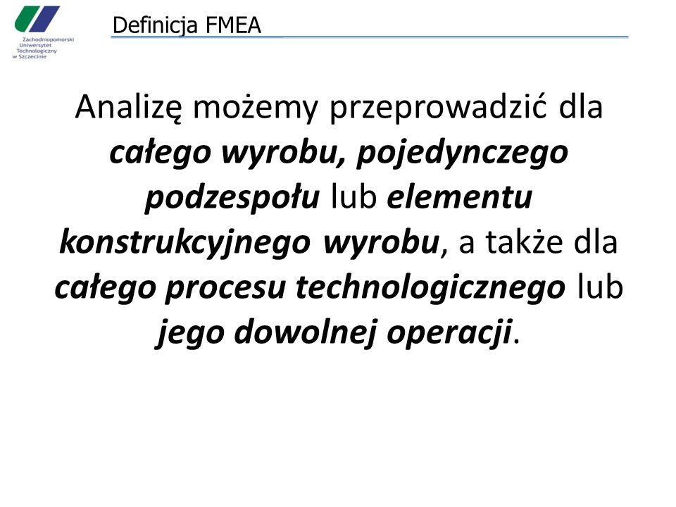 Rodzaje FMEA Rozróżnia się dwa rodzaje FMEA: 1.Konstrukcji (wyrobu) 2.Procesu