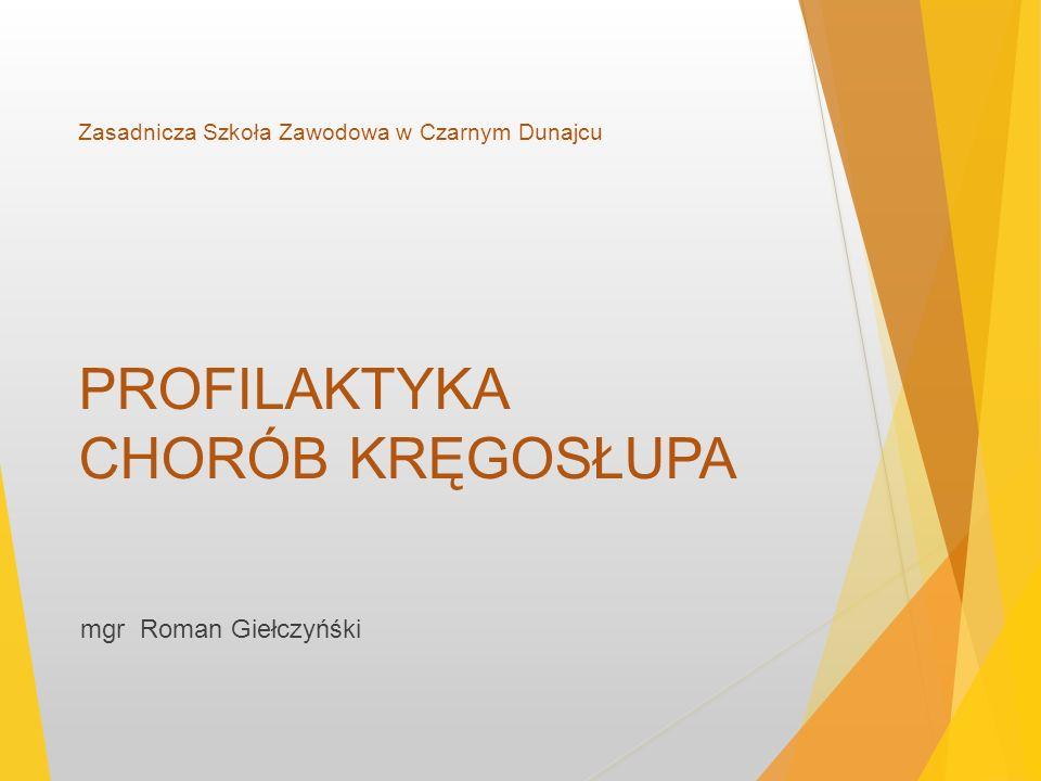 Zasadnicza Szkoła Zawodowa w Czarnym Dunajcu PROFILAKTYKA CHORÓB KRĘGOSŁUPA mgr Roman Giełczyńśki