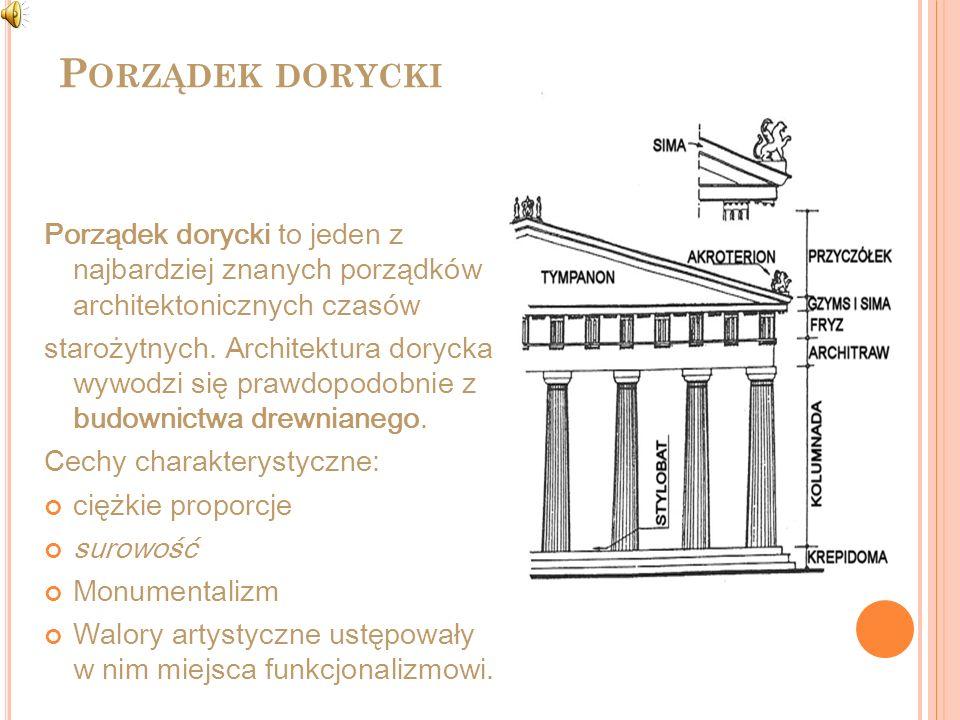 P ORZĄDEK DORYCKI Porządek dorycki to jeden z najbardziej znanych porządków architektonicznych czasów starożytnych. Architektura dorycka wywodzi się p