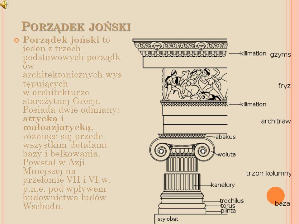P ORZĄDEK JOŃSKI Porządek joński to jeden z trzech podstawowych porządk ów architektonicznych wys tępujących w architekturze starożytnej Grecji. Posia