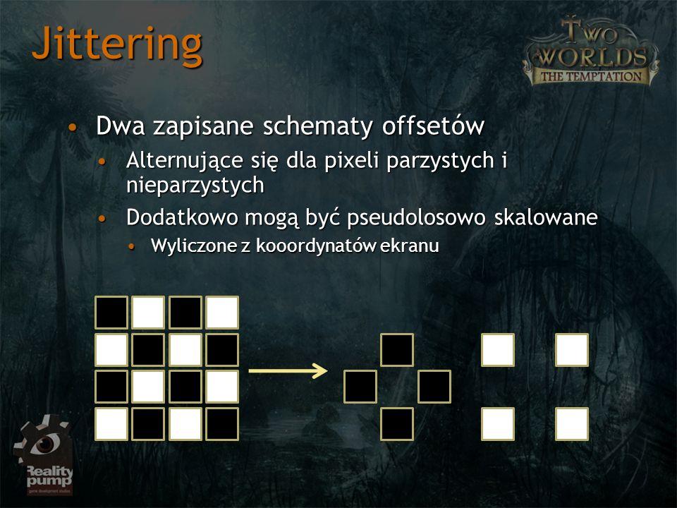 Dwa zapisane schematy offsetówDwa zapisane schematy offsetów Alternujące się dla pixeli parzystych i nieparzystychAlternujące się dla pixeli parzystych i nieparzystych Dodatkowo mogą być pseudolosowo skalowaneDodatkowo mogą być pseudolosowo skalowane Wyliczone z kooordynatów ekranuWyliczone z kooordynatów ekranu Jittering
