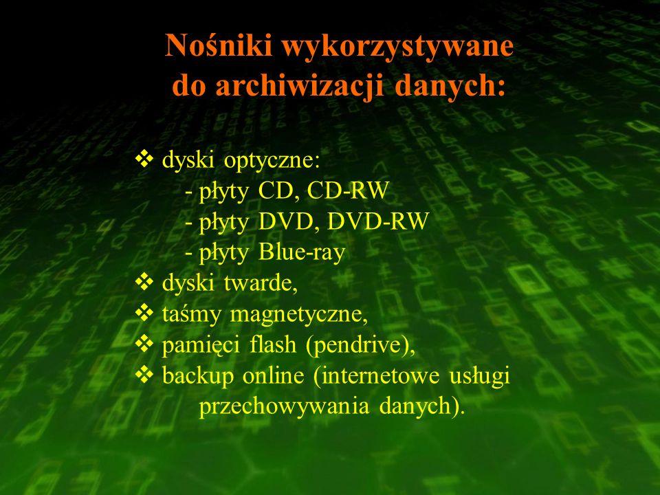Nośniki wykorzystywane do archiwizacji danych: dyski optyczne: - płyty CD, CD-RW - płyty DVD, DVD-RW - płyty Blue-ray dyski twarde, taśmy magnetyczne,