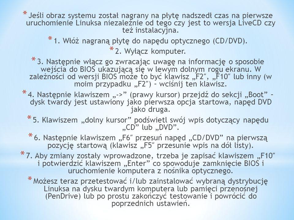 * Jeśli obraz systemu został nagrany na płytę nadszedł czas na pierwsze uruchomienie Linuksa niezależnie od tego czy jest to wersja LiveCD czy też instalacyjna.