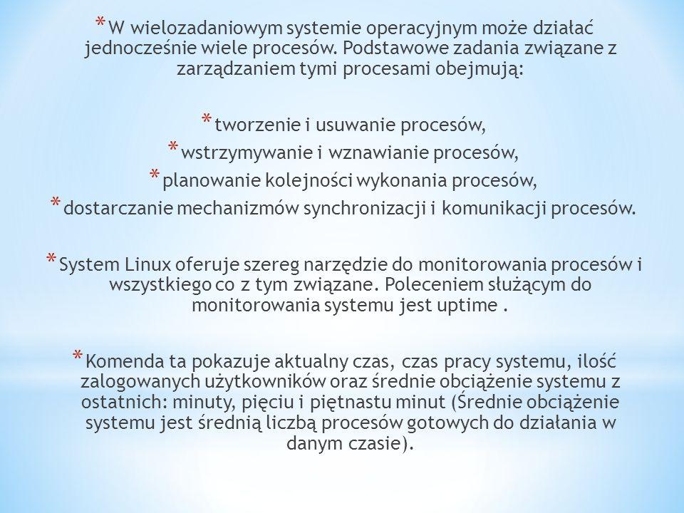 * W wielozadaniowym systemie operacyjnym może działać jednocześnie wiele procesów.