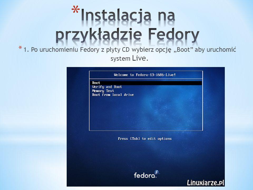 * 1. Po uruchomieniu Fedory z płyty CD wybierz opcję Boot aby uruchomić system Live.